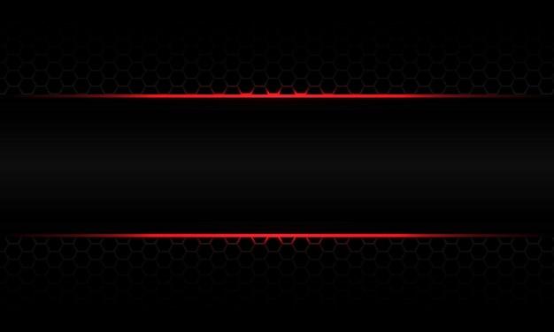 Luce rossa astratta sul vettore di tecnologia futuristica di lusso di progettazione della maglia esagonale nera metallizzata grigia