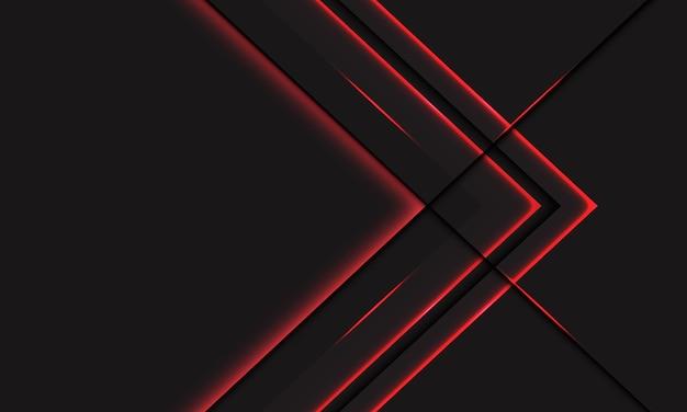 Direzione metallica astratta della freccia al neon della linea della luce rossa su grigio scuro con il fondo futuristico moderno di tecnologia di progettazione dello spazio vuoto