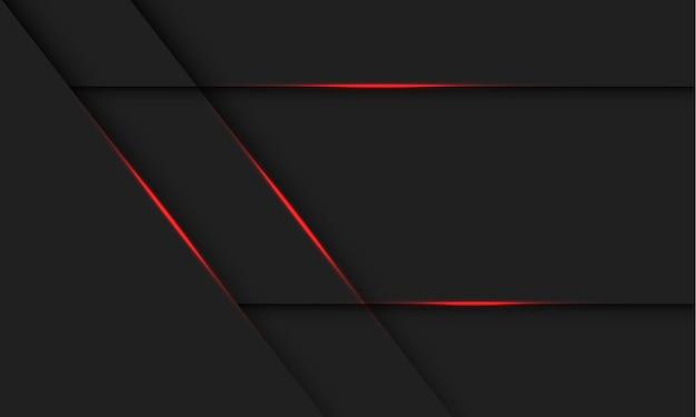 Linea di luce rossa astratta ombra su design grigio scuro moderna tecnologia futuristica illustrazione dello sfondo.