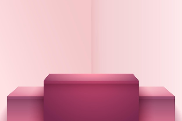 Esposizione astratta del cubo marrone rossiccio rosso per la presentazione del prodotto