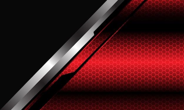 Astratto rosso metallizzato maglia esagonale modello argento linea nera cyber slash triangolo grigio sfondo.