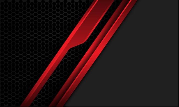 Linea metallica rossa astratta cyber slash maglia esagonale grigia con spazio vuoto design futuristico moderno