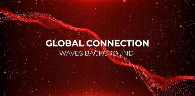 Fondo rosso astratto della particella onda di flusso con il paesaggio del punto