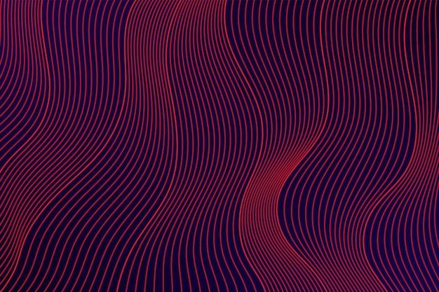Trama di linee ondulate di colore rosa rosso astratto su sfondo scuro design moderno a strati con motivo a curva