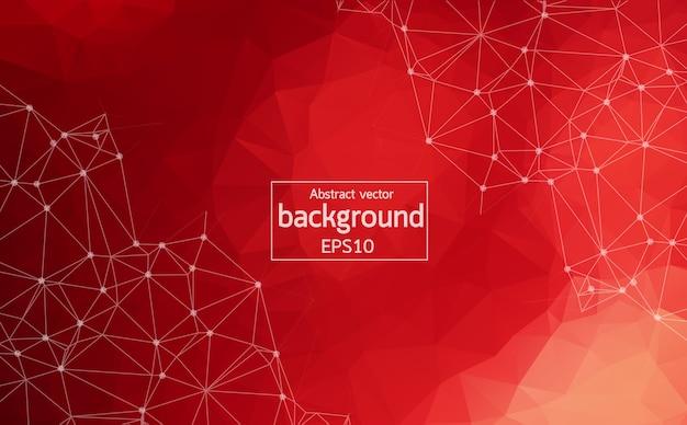 Astratto sfondo spazio poligonale rosso con punti e linee di collegamento.