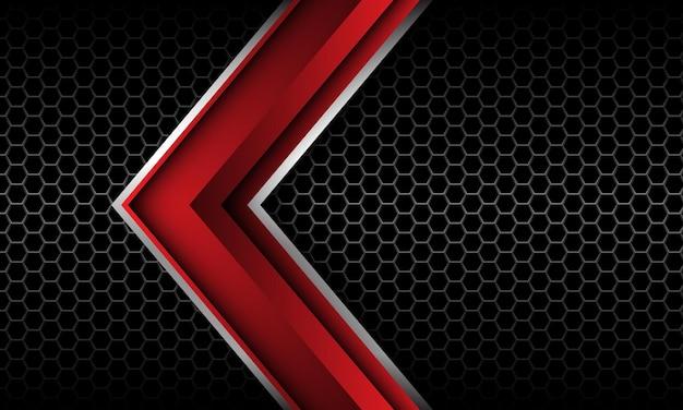 Freccia d'argento rossa astratta direzione esagono grigio maglia nera tecnologia futuristica di lusso vettore