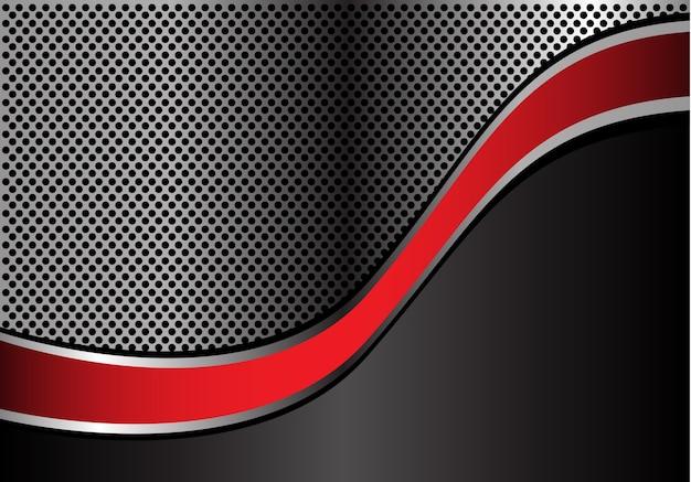Progettazione astratta della maglia del cerchio del metallo della curva della linea d'argento rossa