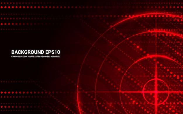 Obiettivo rosso astratto, poligono di tiro su sfondo nero.