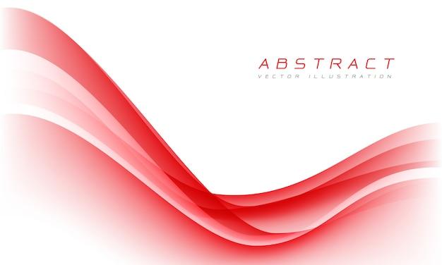 Curva rossa astratta dell'onda sul fondo moderno di progettazione di lusso bianca dello spazio.