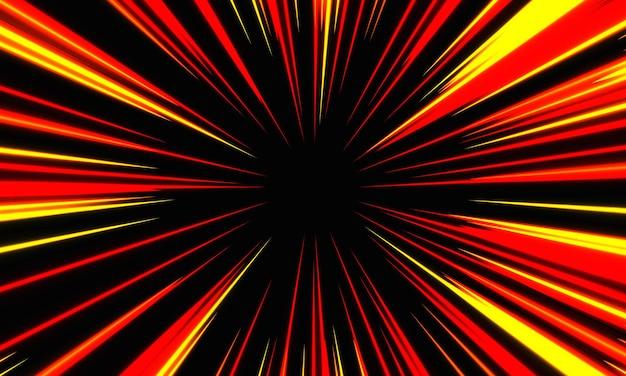 Zoom astratto di velocità della luce gialla rossa sull'illustrazione nera di vettore di tecnologia del fondo.