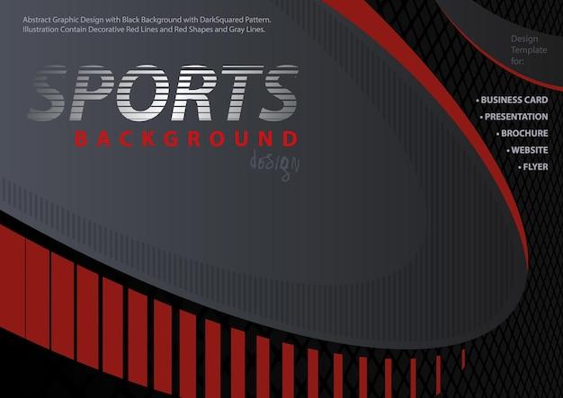 Astratto sfondo rossonero in stile design sportivo con linee decorative e motivo quadrato
