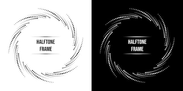 Cerchio di cornice di semitono ripetuto astratto in colore bianco e nero