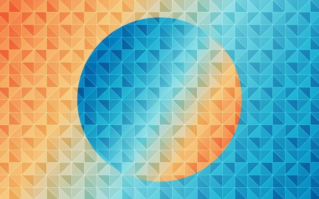 Modello retrò astratto di forme geometriche sfondo di mosaico sfumato colorato arancio e azzurro