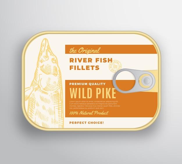 Contenitore in alluminio con filetti di pesce di fiume astratto con coperchio per etichetta. confezione in scatola premium.