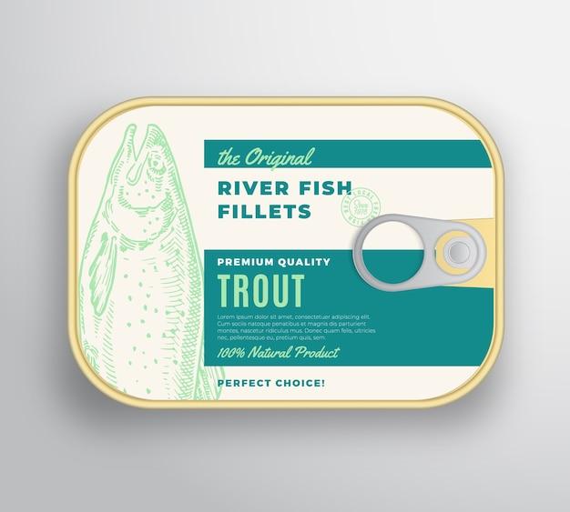 Contenitore in alluminio con filetti di pesce di fiume astratto con coperchio per etichetta.