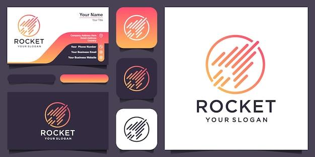Il razzo astratto si combina con il logo del pianeta e il vettore di progettazione del biglietto da visita.
