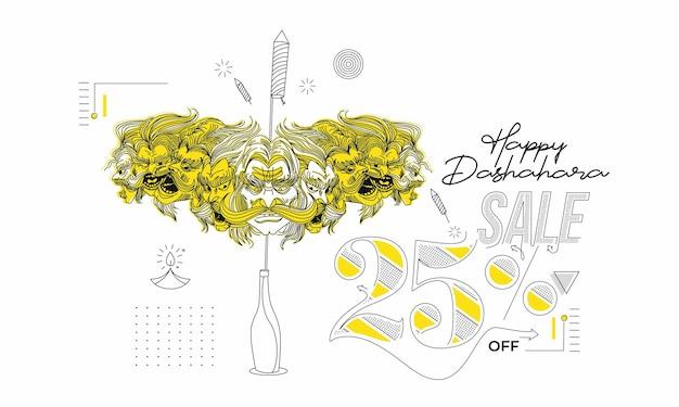 Abstract rocket petardi in una pentola con ravana dieci teste con testo happy dussehra - poster banner vector design. Vettore Premium