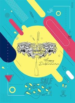 Abstract rocket petardi in una pentola con ravana dieci teste con testo happy dussehra - poster banner vector design.