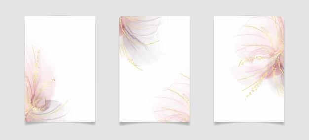 Fard rosa astratto e fondo dell'acquerello liquido grigio
