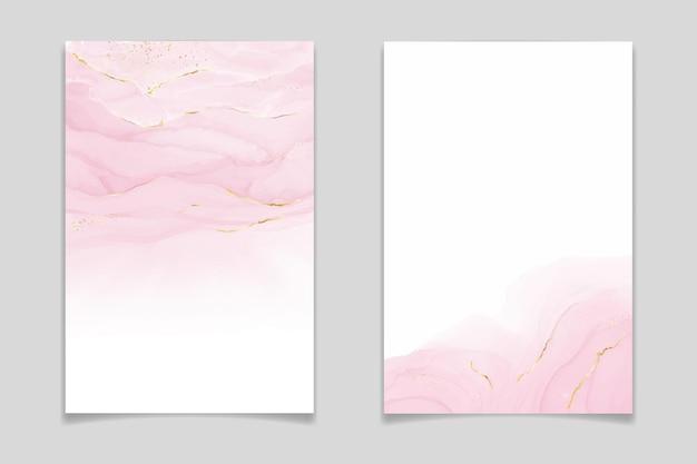 Astratto rosa arrossire sfondo acquerello liquido con linee dorate punti e macchie