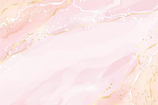 Fondo dell'acquerello liquido arrossire rosa astratto con punti e macchie di linee dorate