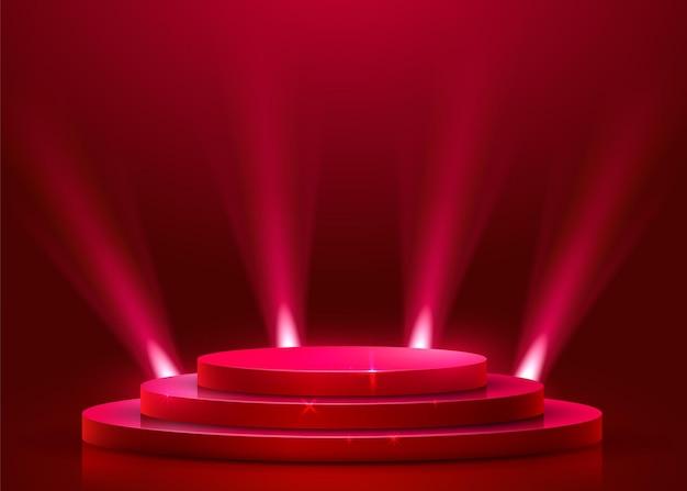 Podio rotondo astratto illuminato con riflettori. concetto di cerimonia di premiazione. sfondo del palco. illustrazione vettoriale