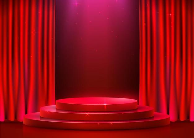 Podio rotondo astratto illuminato con riflettori e tenda. concetto di cerimonia di premiazione. sfondo del palco. illustrazione vettoriale