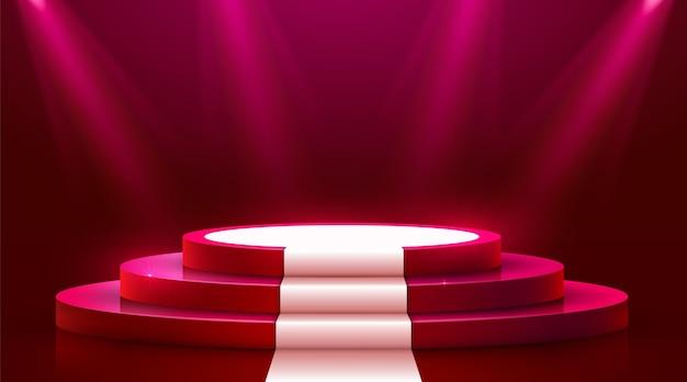 Podio rotondo astratto con tappeto bianco illuminato con riflettori. concetto di cerimonia di premiazione. sfondo del palco. illustrazione vettoriale