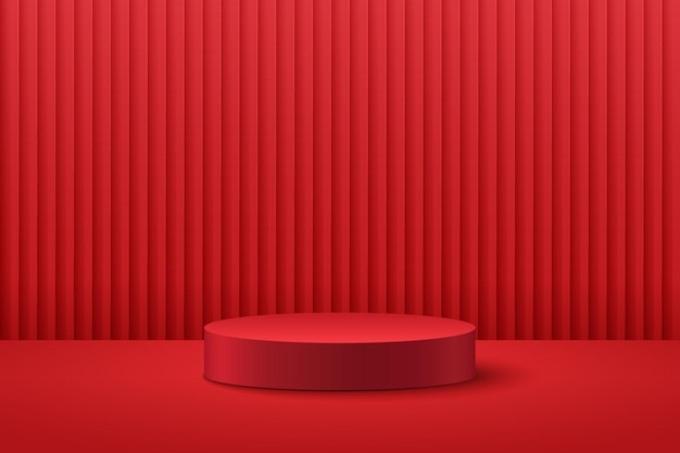 Abstract round stage 3d rendering forma geometrica colore rosso scuro.