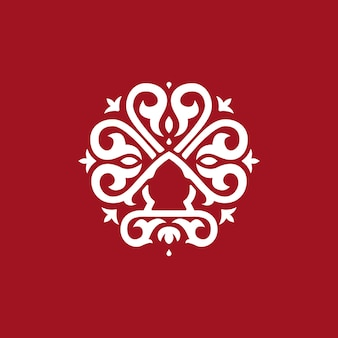 Logo tondo astratto, stile formale logo vintage.