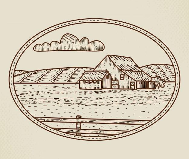 Segno, distintivo o logo astratto dell'azienda agricola rurale. schizzo di paesaggio rustico in una cornice con tipografia retrò. emblema dell'annata di campi, bardo e altri edifici di campagna. isolato.