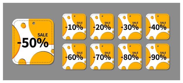 Insieme di etichette di vendita astratta. modello di progettazione di etichette luminose per stampa, web, pubblicità e marketing. modello di badge vettoriali, fino a 10, 20, 30, 40, 50, 60, 70, 80, 90 percento di sconto.