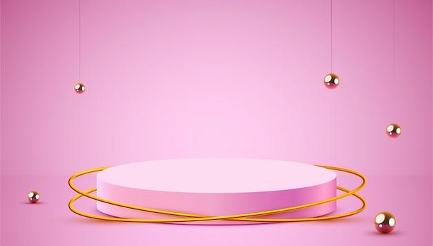 Il podio del cilindro del fondo di scena astratta sulla presentazione del prodotto del fondo deride sul piedistallo o sulla piattaforma della fase del podio del prodotto cosmetico di spettacolo