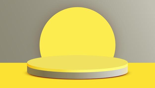 Podio del cilindro del fondo di scena astratta sulla presentazione del prodotto del fondo grigio mock up del piedistallo o della piattaforma della fase del podio del prodotto cosmetico di spettacolo