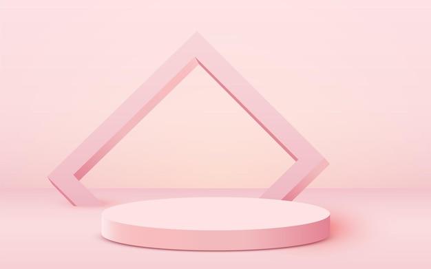 Podio cilindro sfondo scena astratta su sfondo rosa presentazione prodotto mock up show cosme...