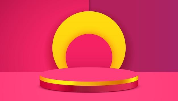 Podio del cilindro del fondo di scena astratta sulla presentazione del prodotto del fondo rosa mock up piedistallo o piattaforma della fase del podio del prodotto cosmetico di spettacolo