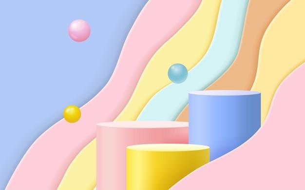 Sfondo scena astratta. podio cilindrico su sfondo rosa, blu, giallo. presentazione del prodotto, mock up, mostra prodotto cosmetico, podio, piedistallo da palcoscenico o piattaforma.
