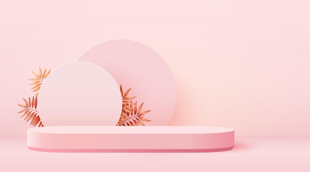 Podio cilindro sfondo scena astratta con foglie su sfondo rosa presentazione prodotto finto u...