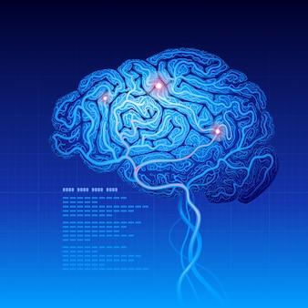 Fondo astratto di scienza con il cervello