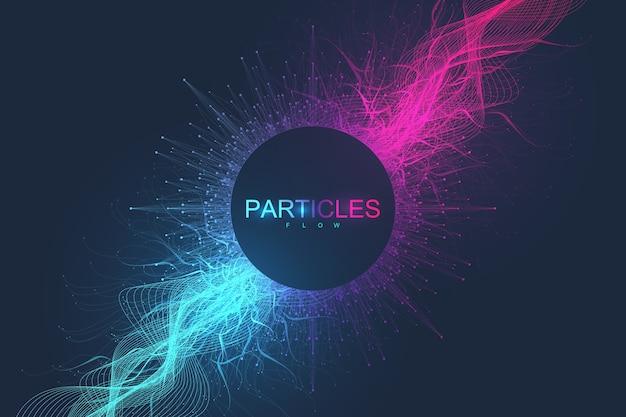 Fondo scientifico astratto con particelle dinamiche, flusso d'onda.