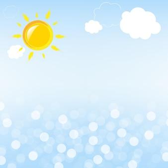 Mare e sole astratti con bokeh,