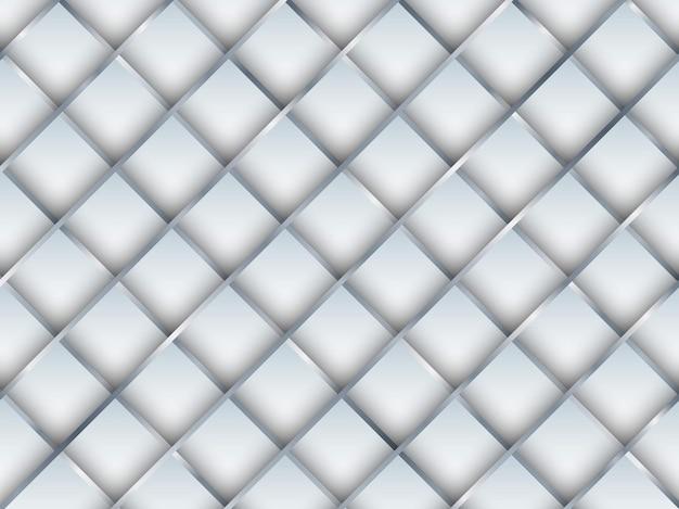 Modello senza cuciture astratto quadrato bianco 3d con sfondo e texture di linee di griglia sfumate d'argento. illustrazione vettoriale