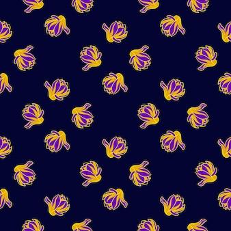 Modello senza cuciture astratto nei toni scuri con ornamento luminoso giallo magnolia e viola. illustrazione vettoriale per stampe tessili stagionali, tessuti, striscioni, fondali e sfondi.
