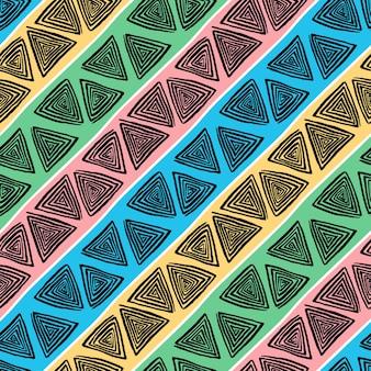 Modello senza cuciture astratto delle spirali disegnate a mano nere dei triangoli su fondo a strisce variopinto
