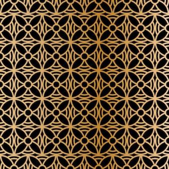 Reticolo senza giunte astratto reticolo senza giunte di vettore ripetendo ornamento geometrico lusso oro