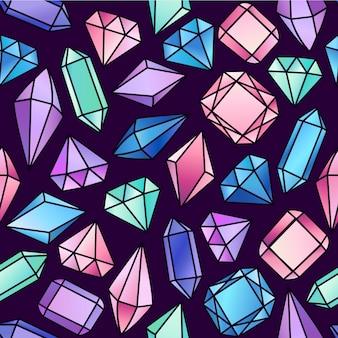 Modello senza cuciture astratto con cristalli