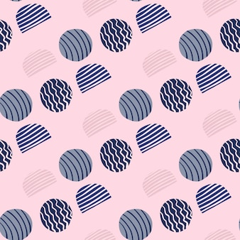 Modello senza cuciture astratto con cerchi di doodle. elementi spogliati blu navy su sfondo chiaro morbido.