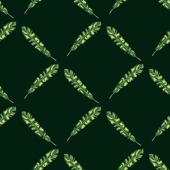 Modello senza cuciture astratto con stampa di foglie tropicali di botanica geometrica verde. sfondo nero. stile semplice.