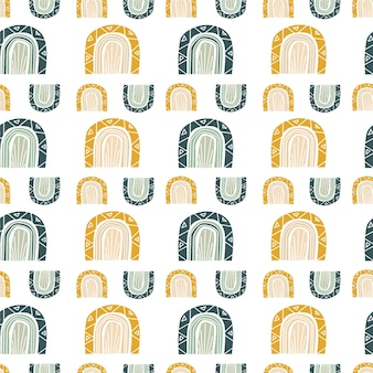 Modello senza cuciture astratto con stampa moderna con arcobaleno. sfondo per carta da parati con stampa su tessuto. stile bohémien. illustrazione vettoriale