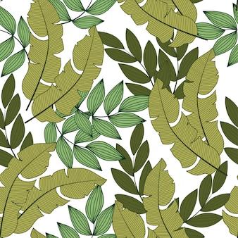 Modello tropicale senza cuciture astratto con piante luminose e foglie su una luce